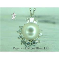 RHJ White Simulated Pearl Pendant  w/ Cubic #896528