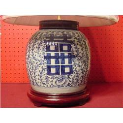 CHINESE BLUE AND WHITE CANTON TABLE LAMP #896588