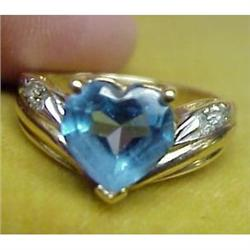 14k Ladies GOLD RING Blue Topaz #896597