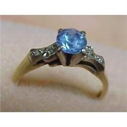 14&18k GOLD RING Blue Topaz #896598