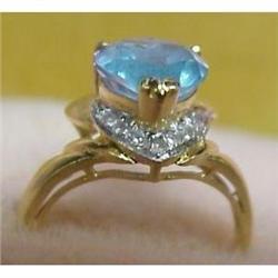 14k GOLD RING Blue Topaz #896599