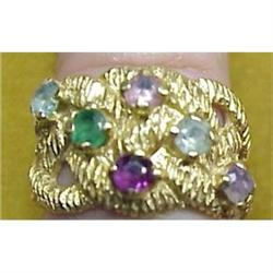 14k Gold MULTI COLOR STONES  RING  #896605