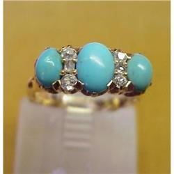 14k Gold TURQUOISE/DIAMOND Ring  #896608