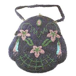 1890 Hand Beaded Floral Purse #896613