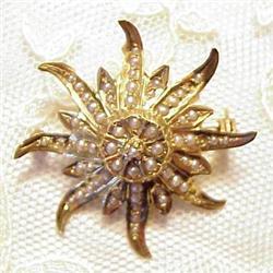 1800's 14k Gold &Pearl Brooch #896622