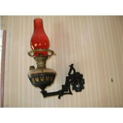 vintage oil lamp wall hanging wrought iron  #896653
