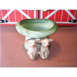 Antique German Pink Porcelain Pigs with Green #896668