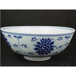 Large Chinese Blue/White Bowl. Marked #896703