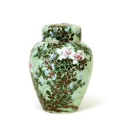 Old Japanese Imari Celadon Seto Jar w Flower #896716