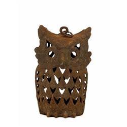 Old Japanese Cast Iron Owl Garden Lamp Lantern #896717