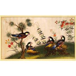 Old Chinese Export Rice Paper Painting w Bird #896718
