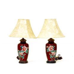 2 Old Japanese Pigeon Blood Cloisonne Lamp Vase #896730