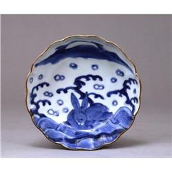 19C Japanese Blue & White Imari Rabbit Bowl #896731