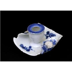 19C Japanese Blue White Hirado Candle Holder #896741