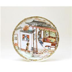19C Chinese Famille Rose Dish w Figurine #896743