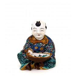 19C Japanese Kutani Figurine Boy Hold Bowl #896747