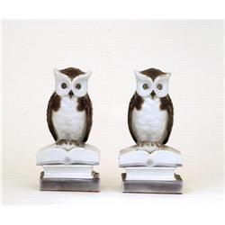 2 Old Japanese Kutani Owl Bookends Figurine #896753