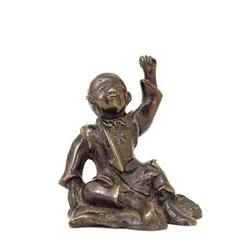 19C Chinese Bronze Boy Raising Hand Figurine #896762