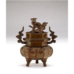 Old Chinese Bronze Fu Lion Dog Finale Censer #896775