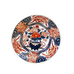 Old Japanese Cobalt Blue Imari Plate w Flower  #896779