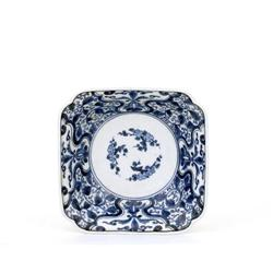 18C Japanese Blue & White Imari Sq Lobe Bowl Mk #896780