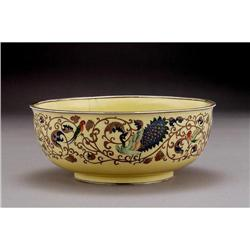 Old Japanese Yellow Cloisonne Bowl w Peacock #896783