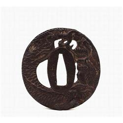 19C Japanese Dragon Iron Tsuba Sword Guard Sg #896786