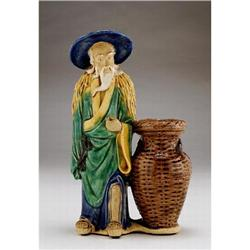 Chinese Export Mudman Mudmen Mud man w Basket #896797
