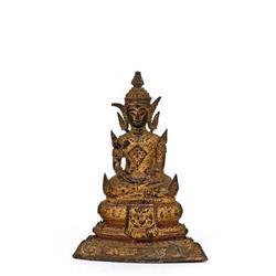 19C Thai Gilded Bronze Seated Buddha  #896811