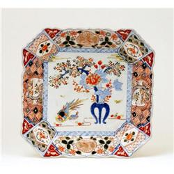 Meiji Japanese Square Imari Platter w Pheasant  #896821