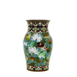 Old Japanese Cloisonne Vase w Butterfly & Bird  #896822
