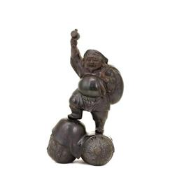 Lg Old Japanese Bronze Okimono Daikoku 7 Lucky #896824
