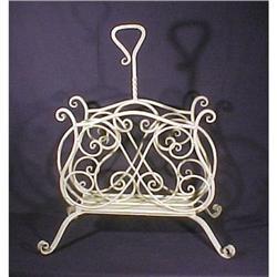 Art Nouveau Magazine Holder Forged Iron #896833