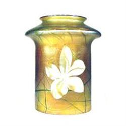 Antique Quezell Shade Signed Iridescent Flowers #896835