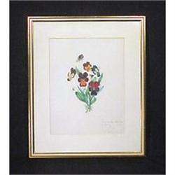 Antique Drawing Pansies Framed Art Signed #896837