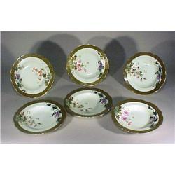 6 Limoges Redon Soup Bowls Gold Enamel #896850