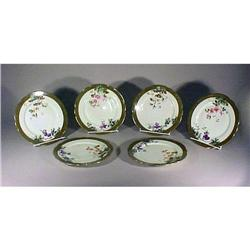6 Limoges Redon Dinner Plates Gold Enamel #896852