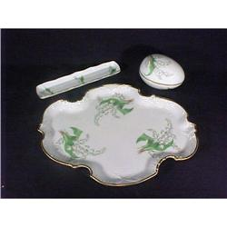 Vintage Limoges Porcelain Vanity Set Lillies #896855