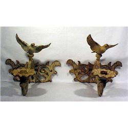 Pair Eagle Wall Sconces Cast Iron Antique #896858