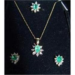 Estate Emerald & Diamond Earrings Ring Necklace #896884