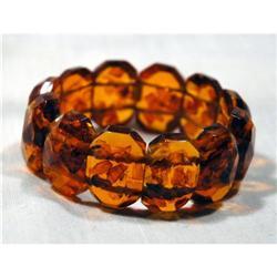 Big Chunky Faceted  Amber Links Bracelet  #896983