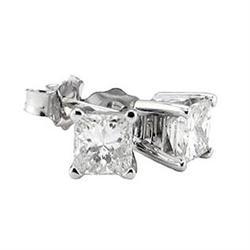 1.0 CARAT DIAMOND STUD EARRINGS PRINCESS CUT #896989