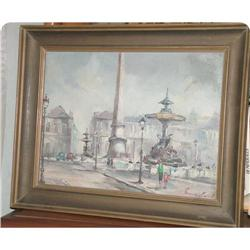 Oil on canvas  street of Paris signed #897021