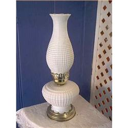 Milk Glass Hobnail Lamp Brass Base #897053
