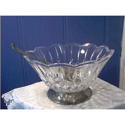 Glass Salad Bowl Silver Serving Utensils #897058