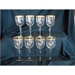 Elegant Crystal Wine Glasses Gold Trim 8 #897065