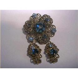 Rhinestone Brooch And Earrings #897081