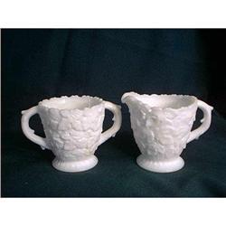 Milk Glass Cream And Sugar by Westmoreland #897086