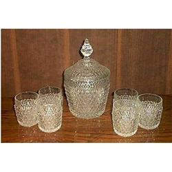 Indiana Glass Diamond Point Ice Tub and Glasses #897102