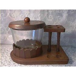 Glass Humidor With Wooden Pipe Holder #897106